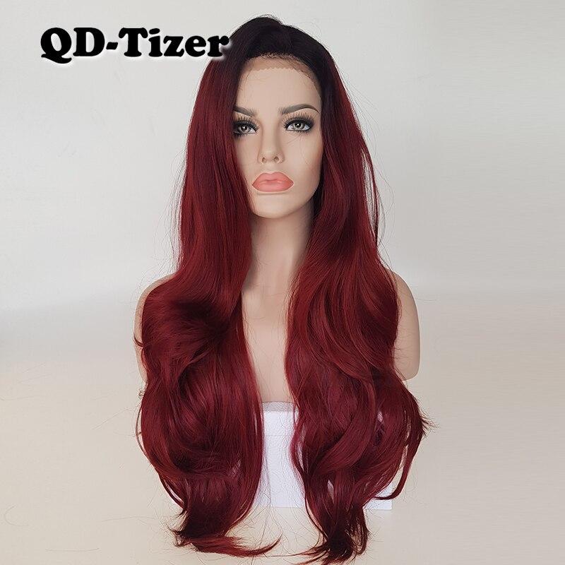 QD-Tizer Burg Ombre Cabelo Ondulado Cor Da Moda Resistente Ao Calor Lace Synthetic Wigs Frente Glueless Perucas Parte Livre para mulheres