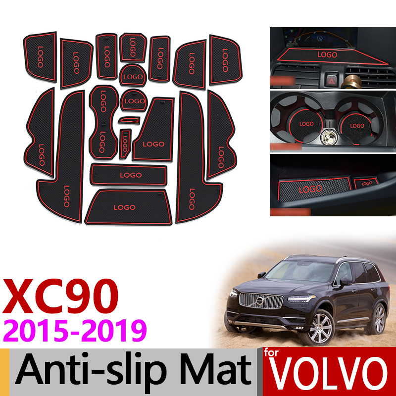 for Volvo XC90 2015~2019 Anti-Slip Rubber Cup Mats Gate Slot Mat 2016 2017 2018 MK2 2 D4 D5 D6 T5 T6 T8 Accessories Car Stickers цена 2017