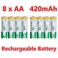 8 unids quanlity juguetes batería recargable aa 420 mah 1.2 v aa ni-mh 1.2 v 2a batería recargable baterias bateria aa aa