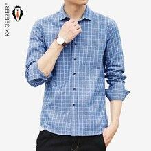رجل قمصان مربعة النقش كم طويل سليم الرجال فستان قميص رسمي الأعمال مصمم عالية الجودة موضة القطن قميص الاجتماعية زائد 4XL