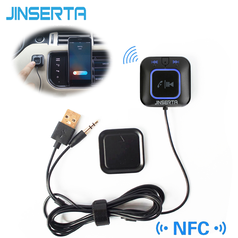 JINSERTA inalámbrico NFC Bluetooth receptor de coche AUX 3,5mm Audio parlante Streaming de música adaptador Dongle manos libres Mic Base magnética