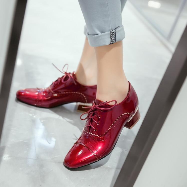 Taille Femmes Décontractées Talon R16 À Rétro Carré Lacets Bas Bout Grande Richelieu Chaussures doQerBWECx