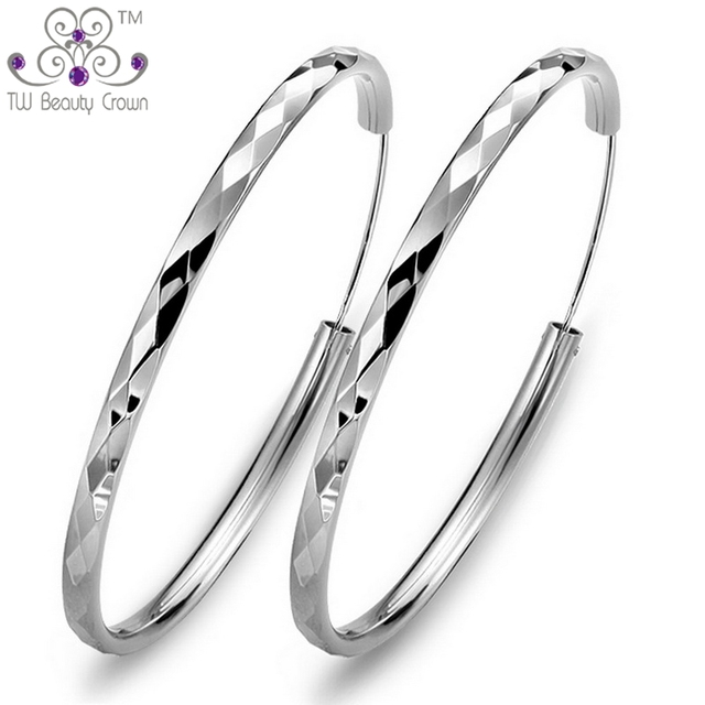 Real Solid 925 Sterling Silver Fashion Elegant Wholesale Big Round Hoop Earrings For Women Wedding & Engagement Party Jewelry