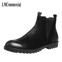 Men's winter shoes leather boots Martin men shoes retro British Chelsea Men's Boots