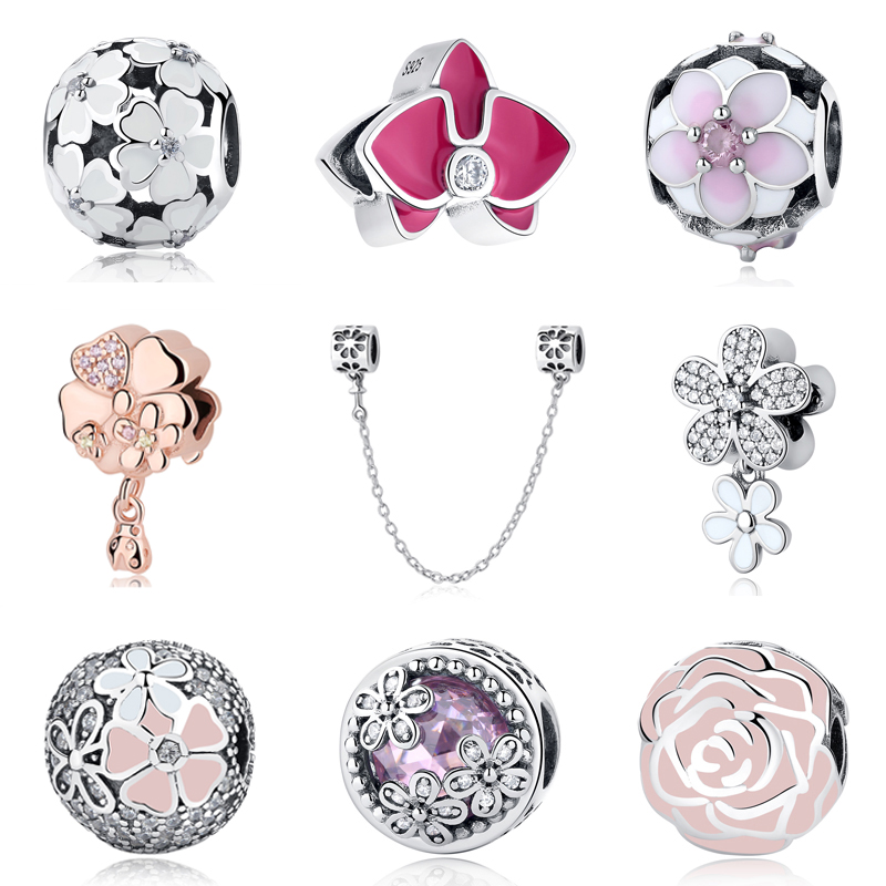 Authentic Original 925 Sterling Silver Charm Bead Primrose Orchid Daisy Blooms Charms Fit Pandora Bracelets Women Diy Jewelry