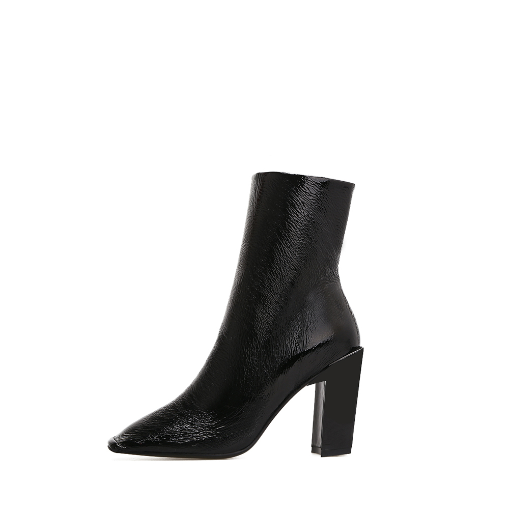 scarpe donna black pu leather women Thick heel high heels ankle boots sexy Motorcycle boots Creative ladies shoes winter boots