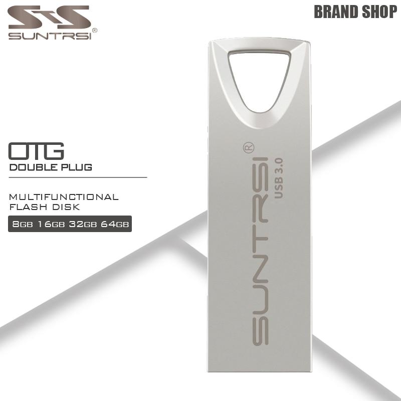 Suntrsi USB 3.0 Pendrive 64 GB Mini Métal USB Flash Drive Haute vitesse Pen Drive CLÉ USB Étanche USB Flash Capacité Réelle 32 GB