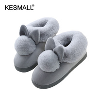 HOT 2017 New Style Lovely Rabbit Ears Soft Home Slippers Cotton Warm Winter Women Slippers Casual