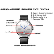 2018 GUANQIN mens watches top brand luxury Automatic Mechanical Watch Casual leather sapphire waterproof Analog Wristwatch Mens