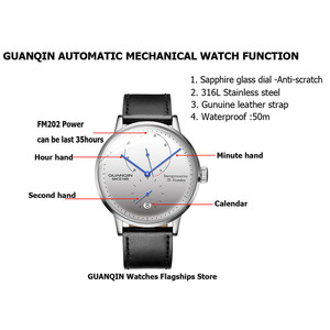 Image 2 - GUANQIN Men watches top brand luxury Watch Casual leather strap sapphire waterproof Analog Automatic Mechanical Wristwatch Mens