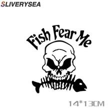 SLIVERYSEA Skeleton Fish Fishing Car sticker Reflective Stickers Box Decoration