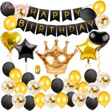 PATIMATE Black Gold Birthday Decorations Party Pack Decoration Balloon Banner - Happy Set