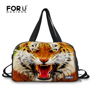 FORUDESIGNS Golden Leopard Animal Men's Sports Bag for Gym with Shoe Pocket Bags of Travel Overnight Bag Fitness Bag Durable