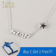 BOAKO Customized Fashion Name Necklace Personalized Letter Choker Nameplate 925 Sterling Silver Jewelry Star
