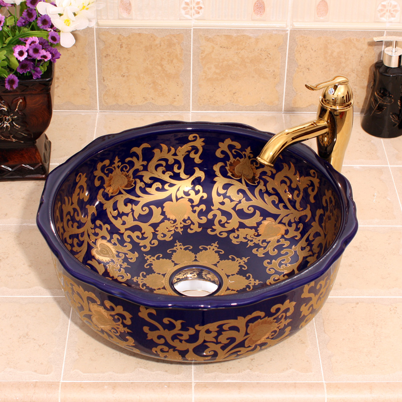 Jingdezhen dark blue ceramic hand wash wash basin цены онлайн