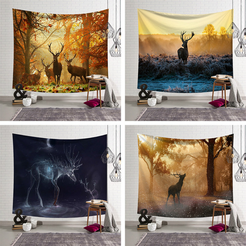 Home Decor Tapestry Deer Tenture Mural Mandala Wall Hanging Bath Towel Travel Mattress 150x130cm 200x150cm image