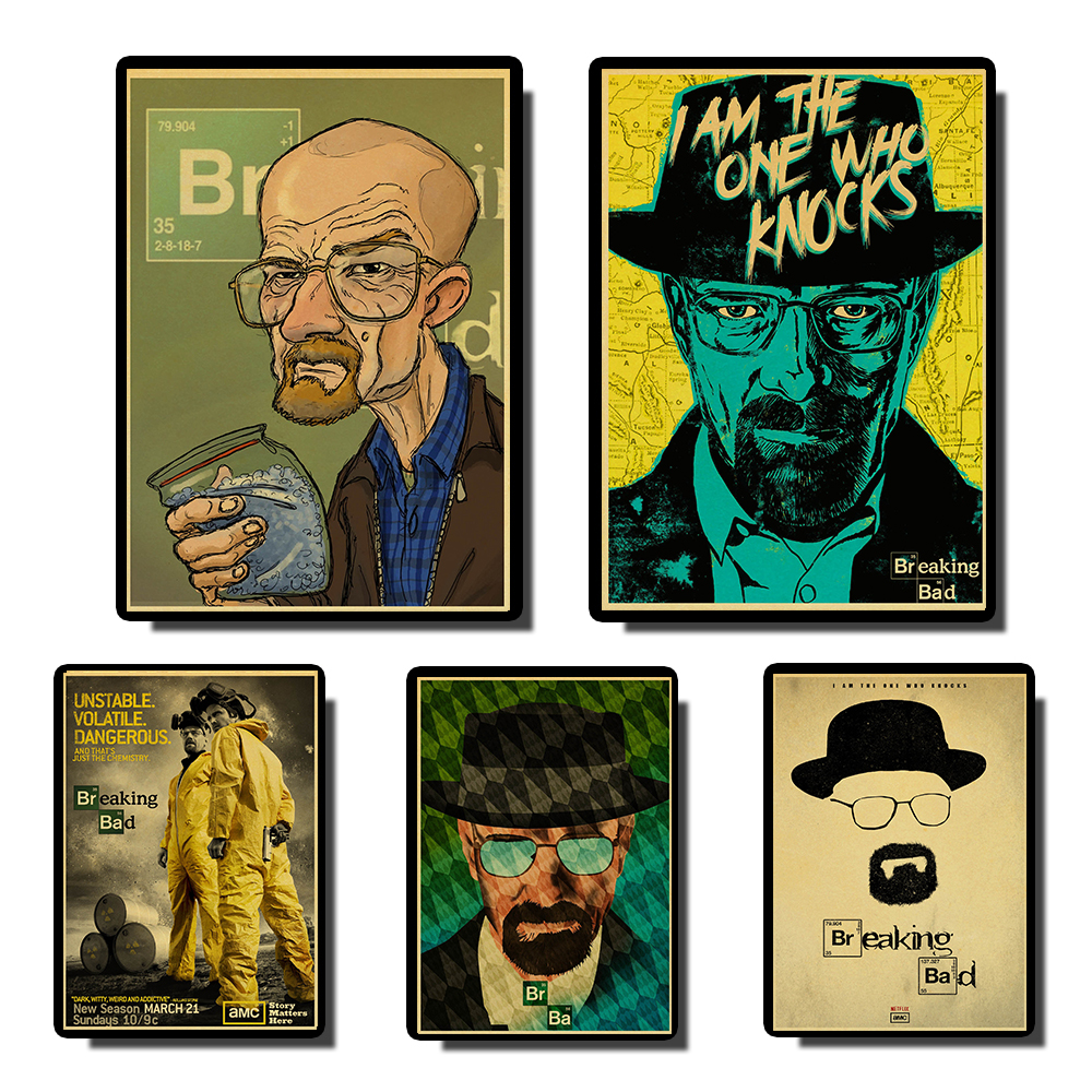 Breaking Bad Posters Movie Vintage Paper Poster Wall Painting  Duvar Tablolar  For Living /Kids Room  Coffee Bar Home