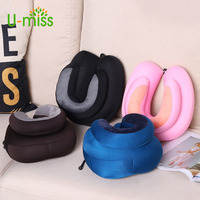 U-miss Creative Foam U-shaped Particle Airplane Travel Neck Pillow Soft Solid Polyester Therapy 4 Color Pillow