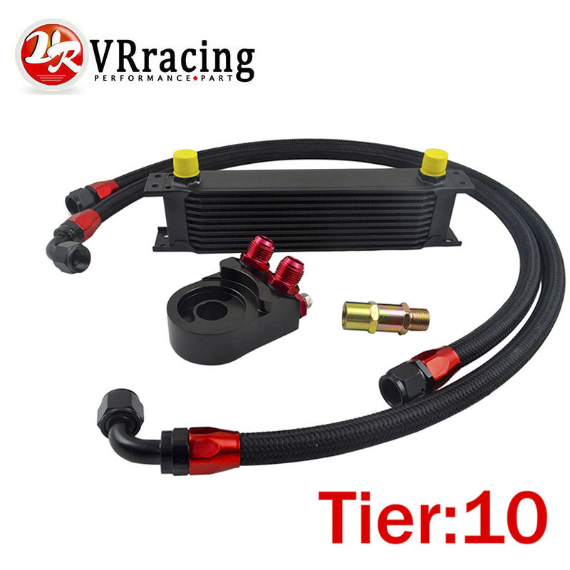 VR RACING - Universal 10 ROWS OIL COOLER ENGINE +AN10 Oil Filter Cooler Sandwich Plate Adapter+2PCS NYLON BRAIDED HOSE LINE vr universal 10 rows oil cooler engine an10 oil sandwich plate adapte with thermostat 2pcs nylon braided hose line black