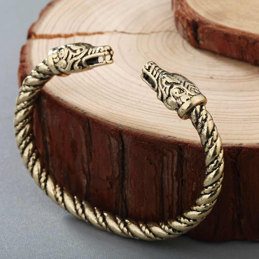 CHENGXUN Norse Fashion Jewelry Male Bangle Animal Dragons Head Bracelet Viking Pagan Medieval Bracelet Celtic Knot Jewelry