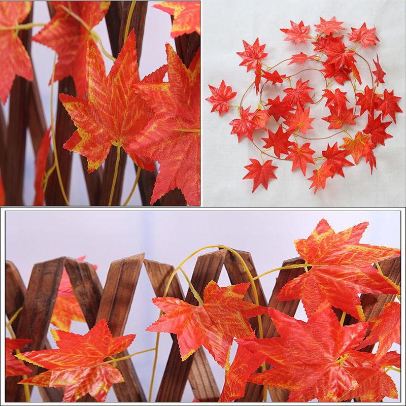 Artificial maple leaf garland silk autumn fall leaves vine for Decoration leaves
