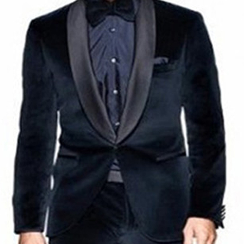 Two Pieces Navy Blue Velvet Men Suits for Wedding Apparel Black Shawl Lapel Trim Fit Evening Prom Tuxedos Groom Jacket Pants