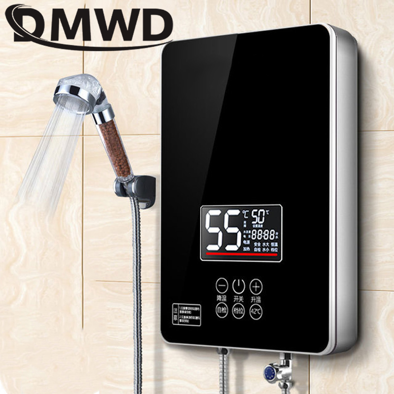 DMWD 6000W Electric Hot Water Heater Instant Kitchen Bathroom Instantaneous Tankless Heating Shower Watering Heaters LED Display image