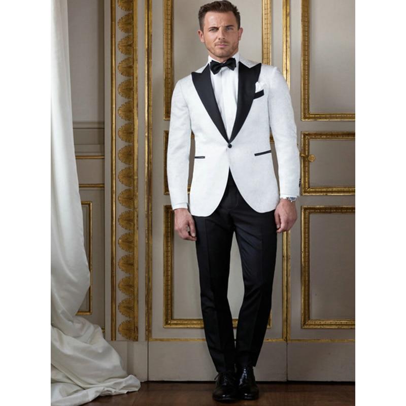 9ad1d8a6ba3e1 Blazer Traje chaqueta La Novio Nueva Image Boda Esmoquin De Los Negro Made  As Pantalones Solapa Para Mens Hombres Blanco 2018 ...