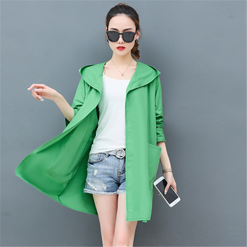 Summer Ultra-Thin Loose   Trench   Coat For Women Hooded Long Cardigan Beach   Trench   Coats Plus Size 3XL Windbreaker Female YH207