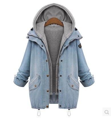 Windkiss Blue Hooded Drawstring Boyfriend Trends Jean Swish Pockets Two Piece Outerwear Women Long Sleeve Buttons