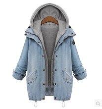 Windkiss Blue Hooded Drawstring Boyfriend Trends Jean Swish Pockets Two Piece Outerwear Women Long Sleeve Buttons Coat