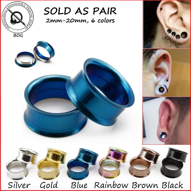 "Rainbow Anodized Steel Screw-on Double-Flared Hollow Ear Plug Flesh Tunnel 8G-1/"""
