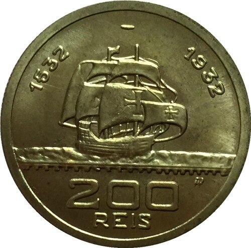 1532-1932 Бразилия 200 Reis Монеты Скопируйте Бесплатная доставка