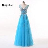 Baijinbai Elegant V Neck Beads Bodice Backless A Line Long Evening Dresses Vestido De Festa Fashion