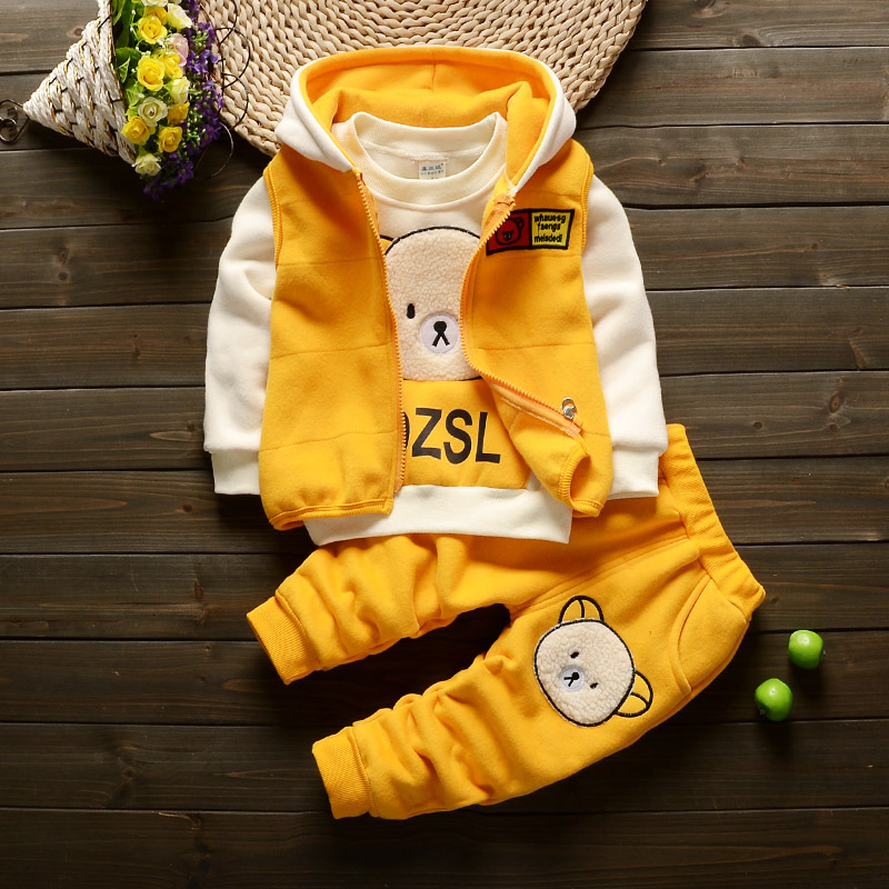 girls clothing set Cartoon bear Winter boys and girls plus velvet thick three sets of young children cute suit GXJ085 autumn winter girls children sets clothing long sleeve o neck pullover cartoon dog sweater short pant suit sets for cute girls