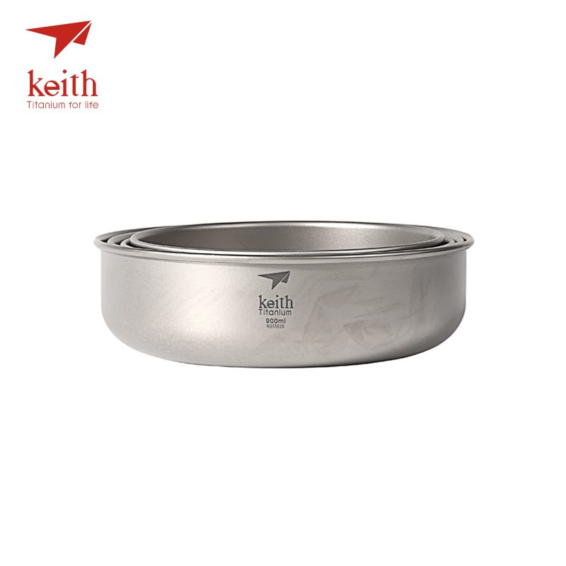 Keith 4 Pcs In 1 Titanium Bowl Ultralight Camping Travel Tableware Single Wall Pure Titanium Bowls Picnic 600ml-900ml Ti5376 keith double wall titanium beer mugs insulation drinkware outdoor camping coffee cups ultralight travel mug 320ml 98g ti9221