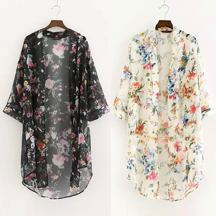 Mujer Blusas  Kimono Cardigan dos Colores Flores de La Gasa Camisa de La Blusa d