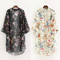 Mujer Blusas 2016 Kimono Cardigan dos Colores Flores de La Gasa Camisa de La Blusa de Blanco Y negro Femme Chemisier