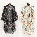 Mulheres Blusas 2016 Kimono Cardigan duas Cores Chiffon Flores Branco E preto Camisa Blusa Chemisier Femme