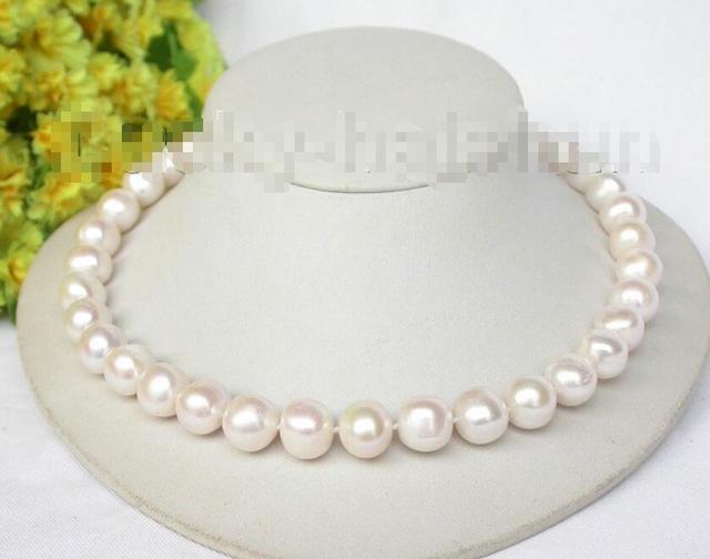 """Горячие продажи новый Стиль>>>>> 18 """"13 мм блеск белый пресноводный жемчуг ожерелье 925 серебра застежка j8322"""