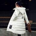 2016 Novas Mulheres Jaqueta de Inverno Com Capuz Engrossar Casaco Feminino moda Quente Algodão-Acolchoado Longo Amassado Para Baixo Casaco Outwear Parka