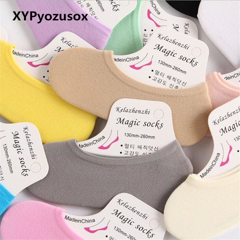 Summer Boat Socks Women Magic Socks Girls Cindy Color Cotton Solid Thin Invisible Comfortable Soft Ladies Antiskid Low Cut Socks