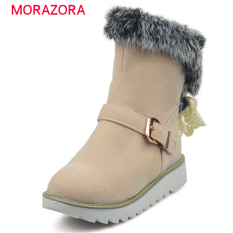 MORAZORA 2018 Winter new arrive ankle boots woman round toe snow boots buckle solid keep warm boots flock solid women shoes 2018 new arrival microfiber round toe buckle solid fashion winter boots superstar warm thick heel handmade women ankle boots l01