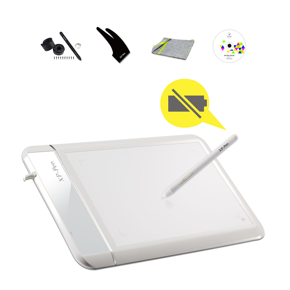 "XP-PEN Star 01 8 ""x 5"" Gigital Tablet Akumulatora bez maksas pasīvā stila paraksta spilventiņš māksliniekam / dizainerim / profesionālim baltajam ar cimdu"