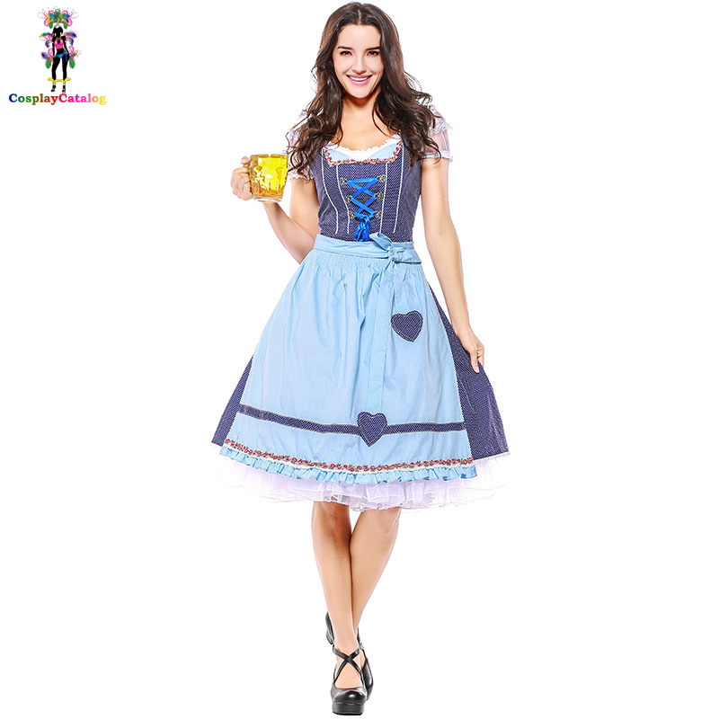 Bavarian Oktoberfest Women Waiter Costume Cute Heart Print Halloween Dress Germany Beer Costumes For Adult Maid Uniforms