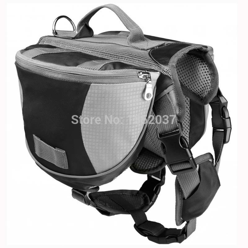 Outdoor Adjustable Saddle Bag Large Capacity Dog Backpack Collar Harness Dog Carriers & Bags Black color