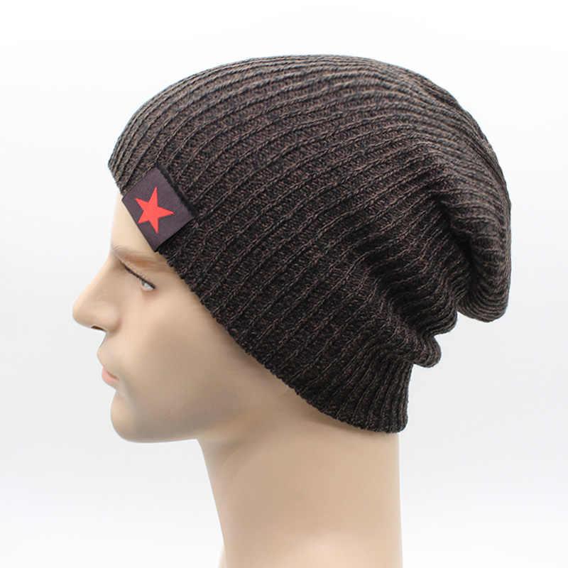 ee0527c7b48 ... 2018 Warm Winter Beanies For Men Knit Hat Men s Winter Hats For Men  Brand Bonnet Beanie ...