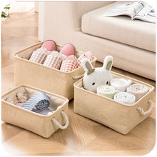 Plain linen fabric with handle storage baskets, toys, clothes closet organize storage box(China)