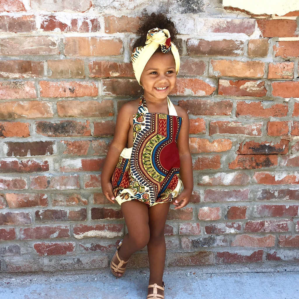 2019 Toddler Baby Girl Bohemia Style African Kids Strap Romper Jumpsuit Casual Clothes Summer Fashion Clothes With Headband New