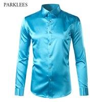 Trend Silk Satin Shirt Men Long Sleeve Chemise Homme 2017 Fashion Mens Slim Fit Emulation Silk